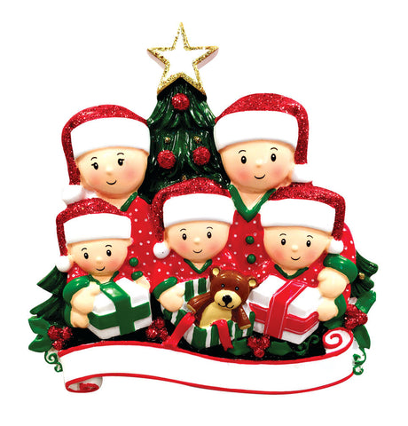 OR1523-5 - Opening Presents (family of 5) Christmas Ornament
