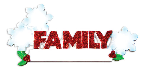 OR1524-3 - Word Family (with 3 Snowflakes) Christmas Ornament