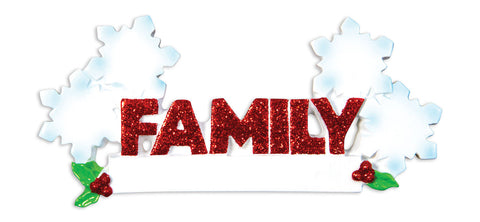 OR1524-4 - Word Family (with 4 Snowflakes) Christmas Ornament