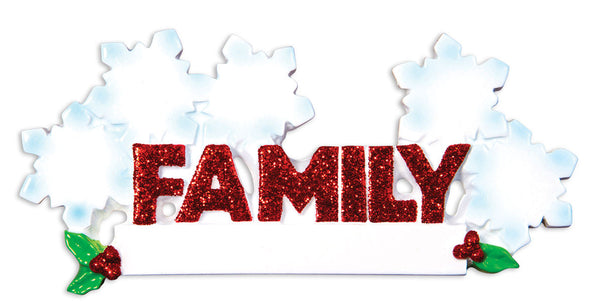 OR1524-5 - Word Family (with 5 Snowflakes) Christmas Ornament