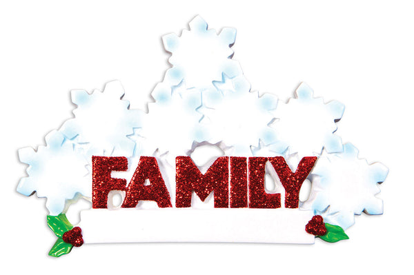 OR1524-7 - Word Family (with 7 Snowflakes) Christmas Ornament
