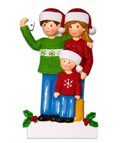 OR1525-3 - Selfie Family (with 1 child) Christmas Ornament