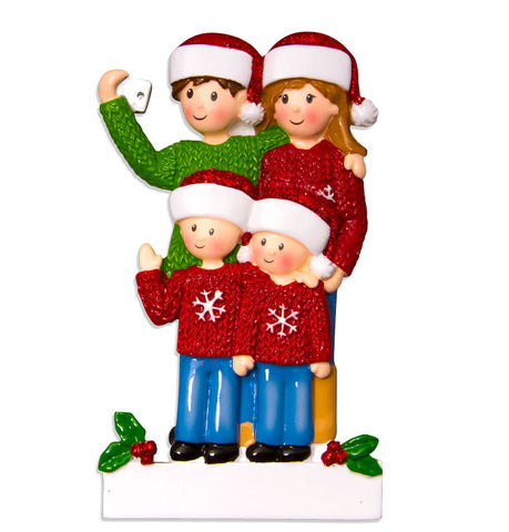 OR1525-4 - Selfie Family (with 2 children) Christmas Ornament