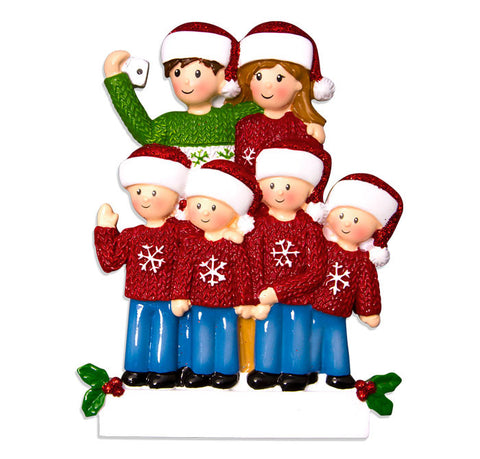 OR1525-6 - Selfie Family (with 4 children) Christmas Ornament