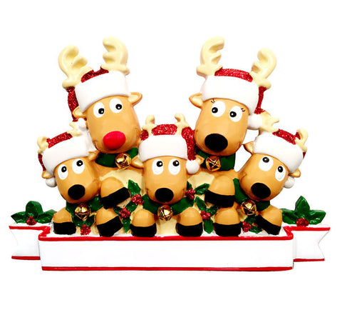 OR1527-5 - New Reindeer (family of 5) Christmas Ornament