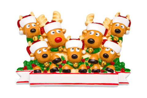 OR1527-7 - New Reindeer (family of 7) Christmas Ornament