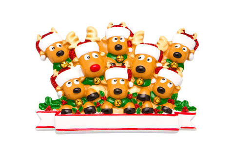 OR1527-8 - New Reindeer (family of 8) Christmas Ornament