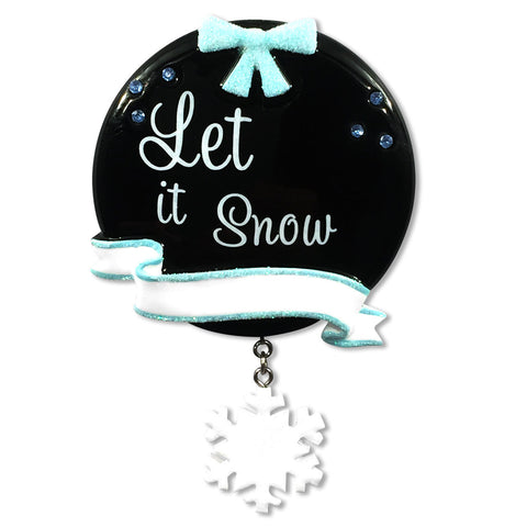 "OR1530-SNOW - Chalkboard ""Let It Snow"" Christmas Ornament"