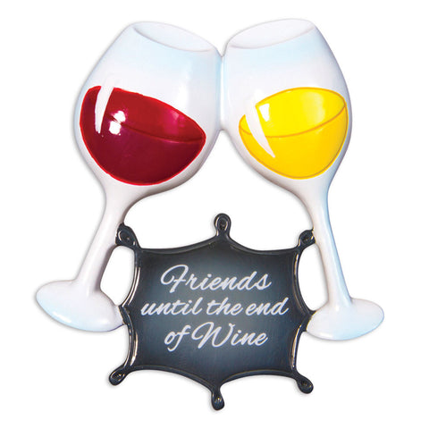 OR1531-A - Friends Until The End of Wine Christmas Ornament