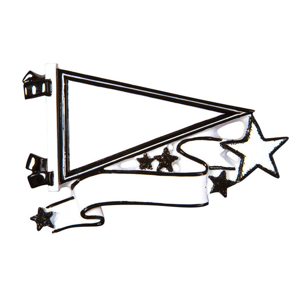 OR1558-BK - Pennants (Black) Christmas Ornament