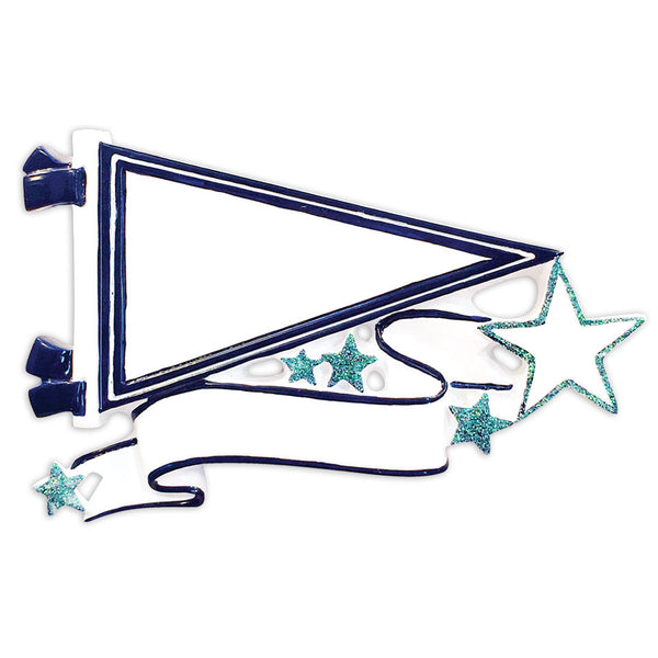OR1558-NB - Pennants (Navy Blue) Christmas Ornament