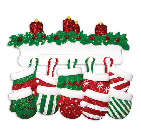 OR1570-10 - Red & Green Mitten Family of 10 Personalized Christmas Ornament