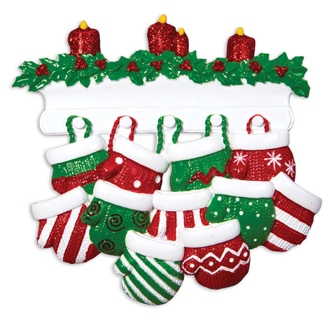 OR1570-11 - Red & Green Mitten Family of 11 Personalized Christmas Ornament