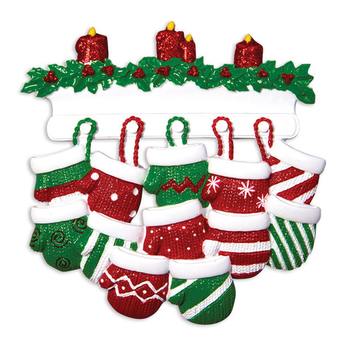 OR1570-12 - Red & Green Mitten Family of 12 Personalized Christmas Ornament