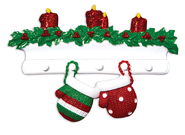 OR1570-2 - Red & Green Mitten Family of 2 Personalized Christmas Ornament