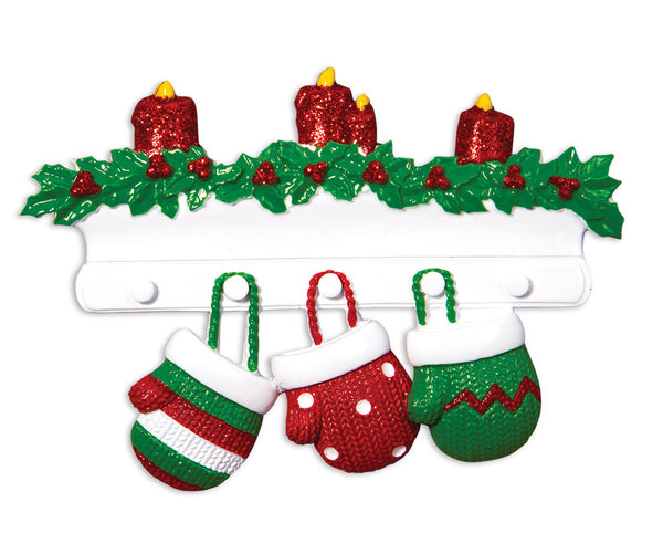 OR1570-3 - Red & Green Mitten Family of 3 Personalized Christmas Ornament