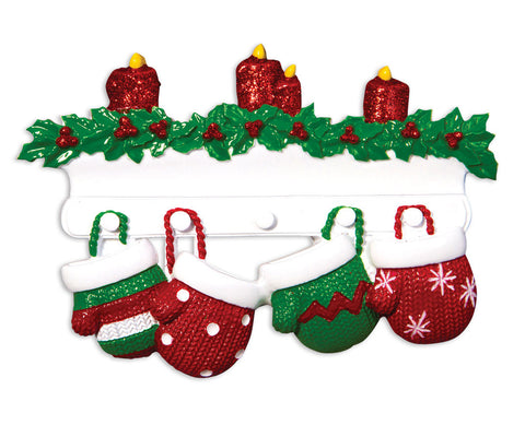 OR1570-4 - Red & Green Mitten Family of 4 Personalized Christmas Ornament