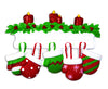 OR1570-5 - Red & Green Mitten Family of 5 Personalized Christmas Ornament