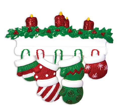 OR1570-6 - Red & Green Mitten Family of 6 Personalized Christmas Ornament