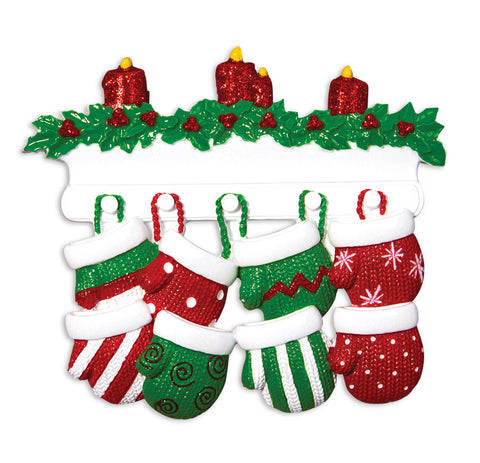 OR1570-8 - Red & Green Mitten Family of 8 Personalized Christmas Ornament