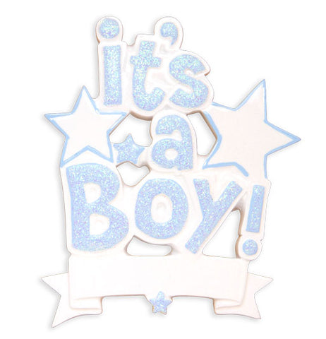 OR1571-B - It's a Boy (Blue) Personalized Christmas Ornament