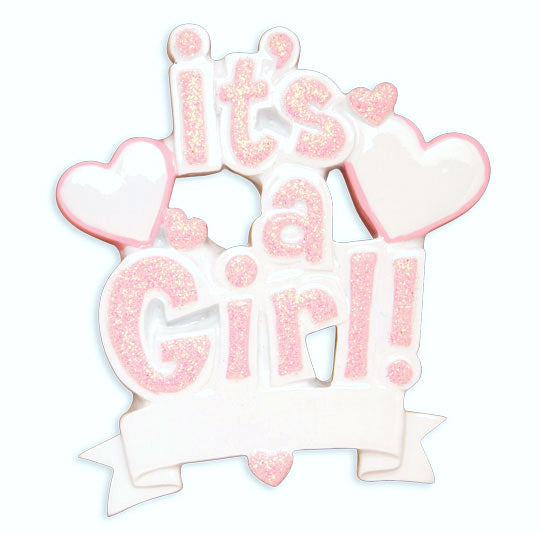 OR1571-P - It's a Girl (Pink) Personalized Christmas Ornament