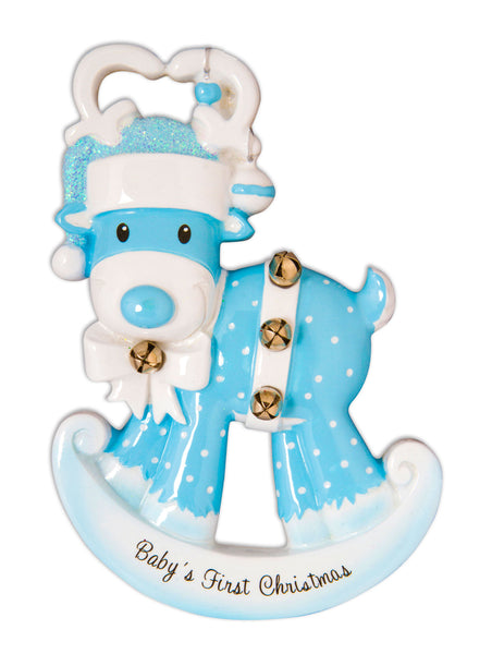 OR1572-B - Baby Reindeer (Blue) Personalized Christmas Ornament