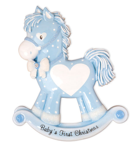 OR1573-B - Baby Boy Rocking Horse (New) Personalized Christmas Ornament