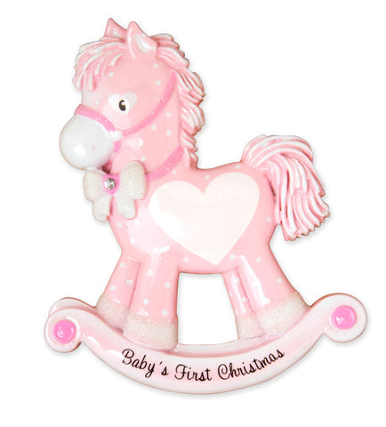 OR1573-P - Baby Girl Rocking Horse (New) Personalized Christmas Ornament