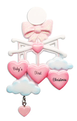 OR1574-P - Baby Mobile (Pink) Personalized Christmas Ornament