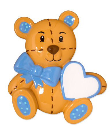 OR1575-B - Teddy Bear (Blue) Personalized Christmas Ornament