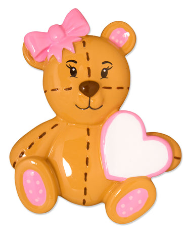 OR1575-P - Teddy Bear (Pink) Personalized Christmas Ornament