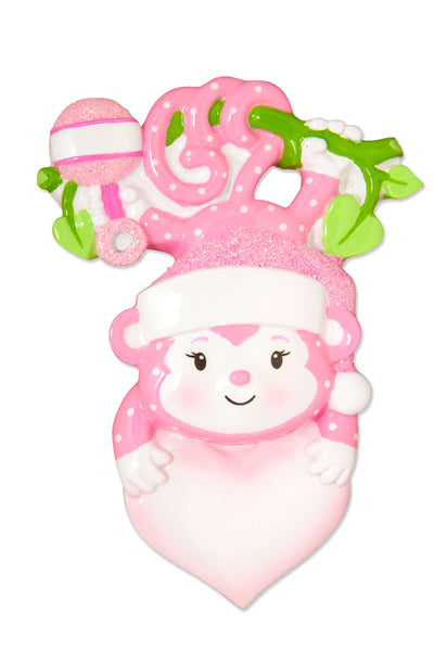 OR1576-P - Baby Monkey (Girl) Personalized Christmas Ornament