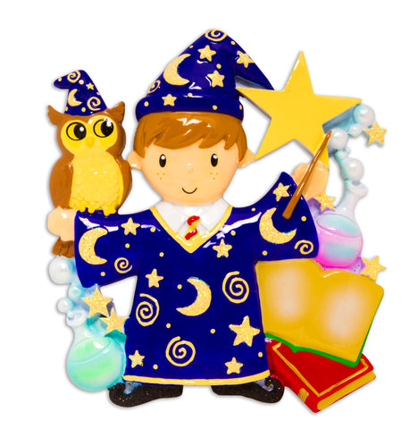 OR1584-BOY - Wizard Boy Personalized Christmas Ornament