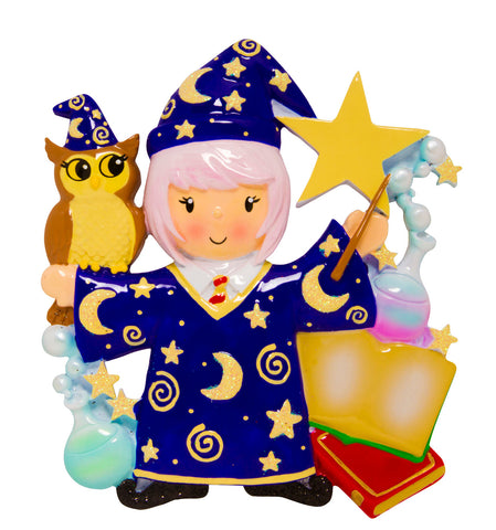 OR1584-GIRL - Wizard Girl Personalized Christmas Ornament