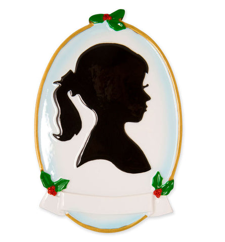 OR1587-GIRL - Girl Silhouette Personalized Christmas Ornament