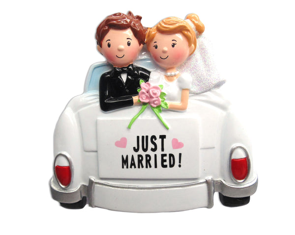 OR1592 - Just Married Car Personalized Christmas Ornament