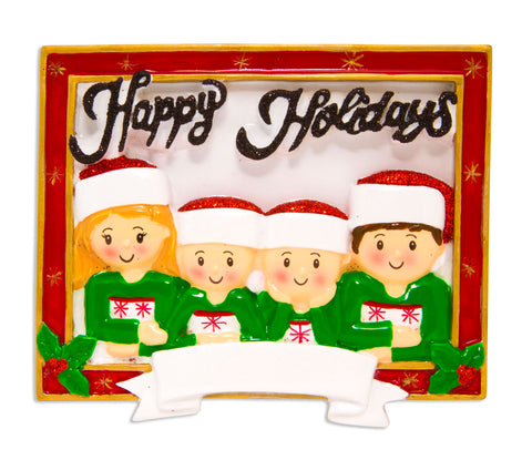 OR1600-4 - Christmas Card Family of 4 Personalized Christmas Ornament