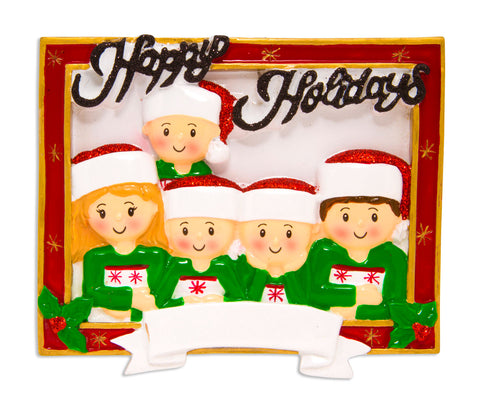 OR1600-5 - Christmas Card Family of 5 Personalized Christmas Ornament