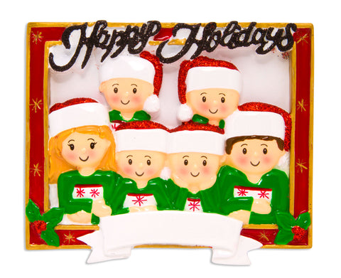 OR1600-6 - Christmas Card Family of 6 Personalized Christmas Ornament
