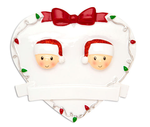 OR1601-2 - Red + Green Head On Hearts Family of 2 Personalized Christmas Ornament