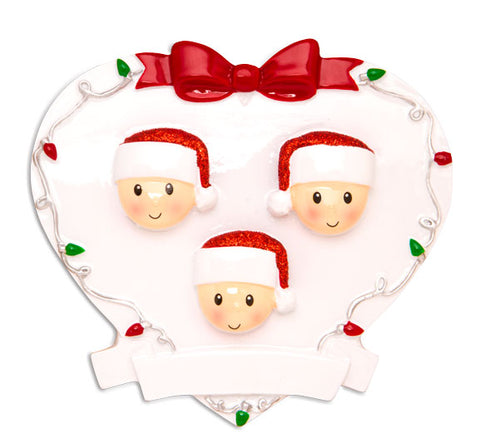OR1601-3 - Red + Green Head On Hearts Family of 3 Personalized Christmas Ornament