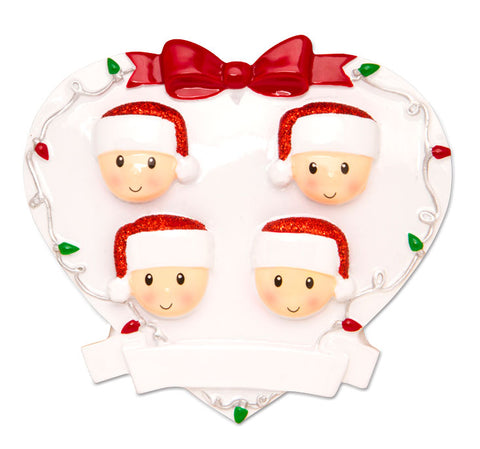 OR1601-4 - Red + Green Head On Hearts Family of 4 Personalized Christmas Ornament
