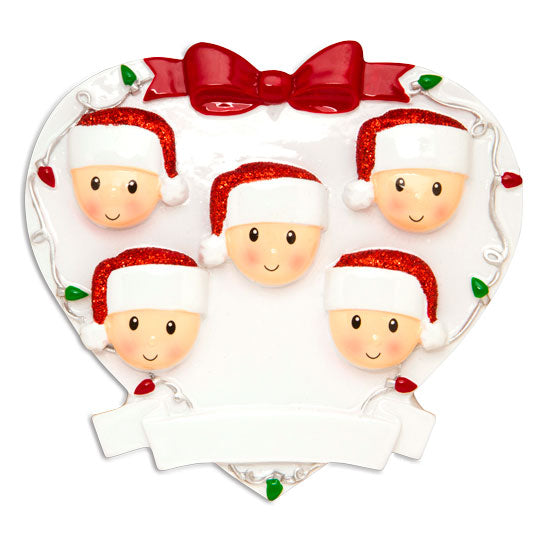 OR1601-5 - Red + Green Head On Hearts Family of 5 Personalized Christmas Ornament