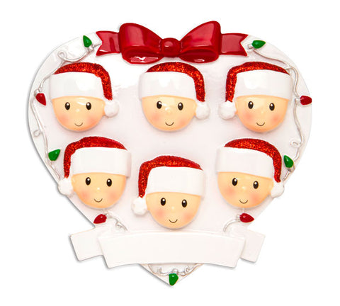 OR1601-6 - Red + Green Head On Hearts Family of 6 Personalized Christmas Ornament