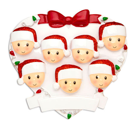 OR1601-7 - Red + Green Head On Hearts Family of 7 Personalized Christmas Ornament