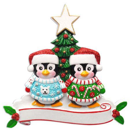 OR1602-2 - Ugly Sweater Couple Personalized Christmas Ornament