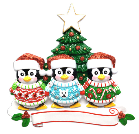 OR1602-3 - Ugly Sweater Family of 3 Personalized Christmas Ornament