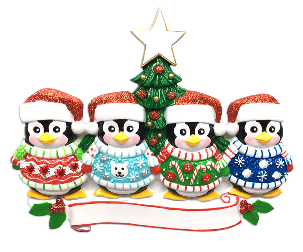 OR1602-4 - Ugly Sweater Family of 4 Personalized Christmas Ornament