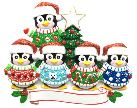 OR1602-5 - Ugly Sweater Family of 5 Personalized Christmas Ornament